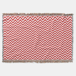 Red and White Zigzag Stripes Chevron Pattern Throw Blanket
