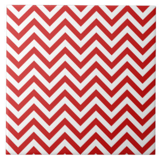 Red and White Zigzag Stripes Chevron Pattern Tile