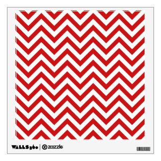 Red and White Zigzag Stripes Chevron Pattern Wall Sticker