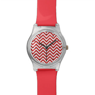 Red and White Zigzag Stripes Chevron Pattern Watch