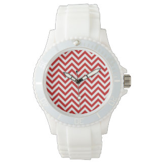 Red and White Zigzag Stripes Chevron Pattern Watches