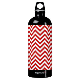 Red and White Zigzag Stripes Chevron Pattern Water Bottle