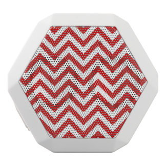 Red and White Zigzag Stripes Chevron Pattern White Bluetooth Speaker