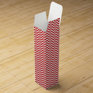 Red and White Zigzag Stripes Chevron Pattern Wine Box