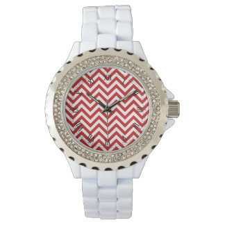 Red and White Zigzag Stripes Chevron Pattern Wrist Watch