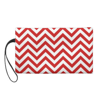 Red and White Zigzag Stripes Chevron Pattern Wristlet