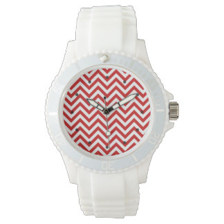 Red and White Zigzag Stripes Chevron Pattern Wristwatch