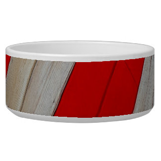 Red and Wood Design Pet Bowl