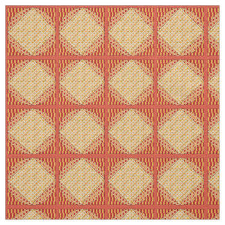 Red and Yellow Abstract Print Ivory Linen Fabric