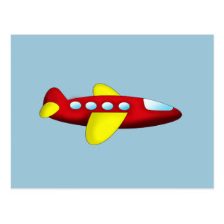 Red and Yellow Airplane Postcard