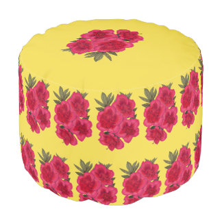 Red And Yellow Azalea Flower Pouf