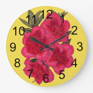 Red And Yellow Azalea Flower Wall Clock