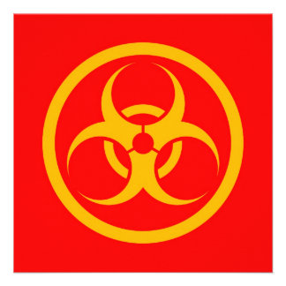 Red and Yellow Bio Hazard Circle Personalized Invitations