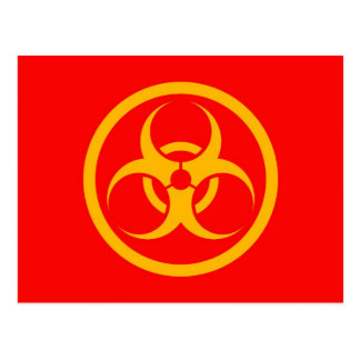 Red and Yellow Bio Hazard Circle Postcard