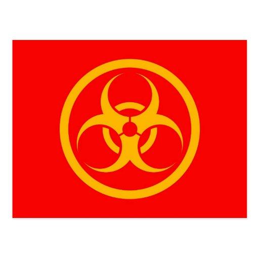 Red and Yellow Bio Hazard Circle Postcards