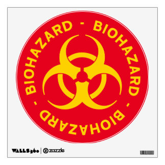 Red and Yellow Biohazard Warning Sign Wall Decal