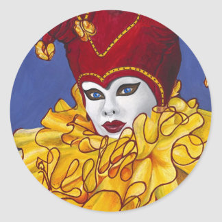 Red and Yellow Carnival Jester Classic Round Sticker