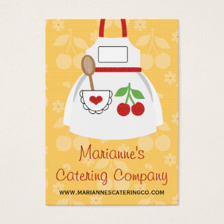 Red and Yellow Cherry Heart Apron Business Cards