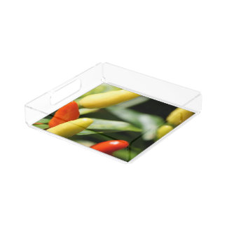 Red and Yellow Chilli Plant Acrylic Tray