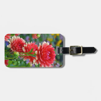Red and yellow dahlia flowers luggage tag