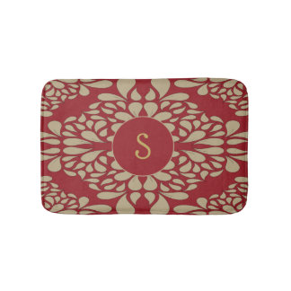 Red and yellow damask pattern with custom monogram bath mat