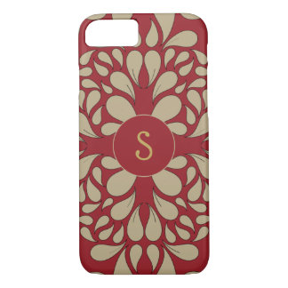 Red and yellow damask pattern with custom monogram iPhone 8/7 case