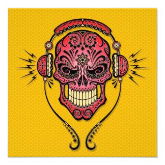 Red and Yellow DJ Sugar Skull Custom Invite