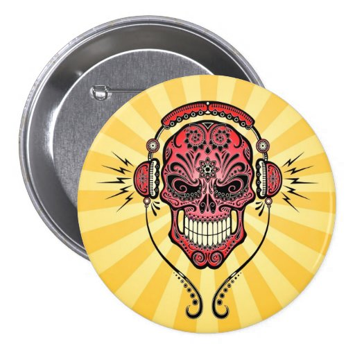 Red and Yellow DJ Sugar Skull with Rays of Light Buttons