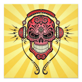 Red and Yellow DJ Sugar Skull with Rays of Light Personalized Announcements