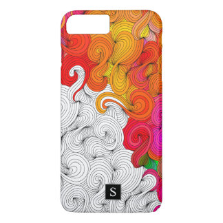 Red and Yellow Doodle Pattern with Monogram iPhone 8 Plus/7 Plus Case