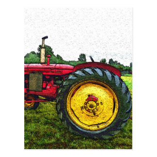 Red and Yellow Farm Tractor Postcard
