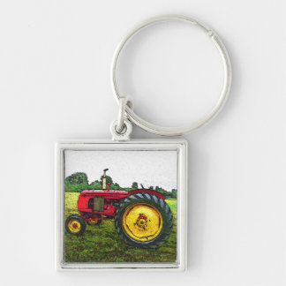 Red and Yellow Farm Tractor Silver-Colored Square Keychain