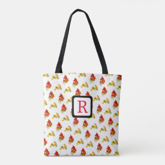 Red and Yellow Floral Flower Monogram Tote Spring.