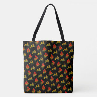 Red and Yellow Floral Flower Pattern Tote
