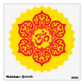 Red and Yellow Floral Om Wall Sticker