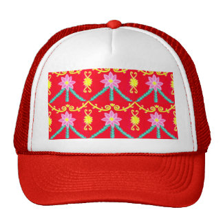 Red and Yellow Floral Tile Pattern Trucker Hat