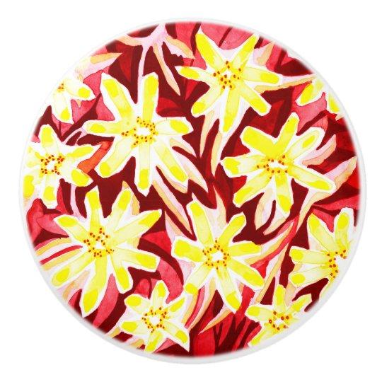 Red and Yellow Floral Watercolor Ceramic Door Knob Ceramic Knob