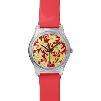 Red and Yellow Floral Watercolor May28th Watch