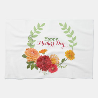 Red And Yellow Flowers In A Wreath Towel