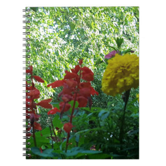 Red And Yellow Flowers Outdoor Photography Spiral Note Book