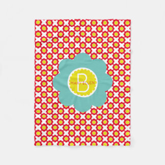 Red and Yellow Flowers With Teal Flower Monogram Fleece Blanket