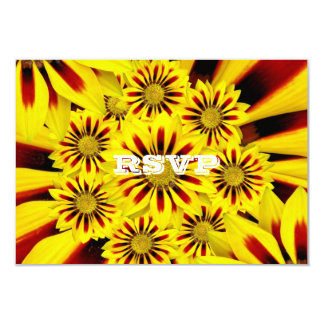 """Red and Yellow Gerbera Daisies Wedding RSVP 3.5"""" X 5"""" Invitation Card"""