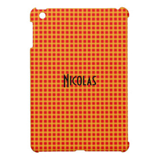 Red and Yellow Gingham Pattern Personalized Name iPad Mini Case