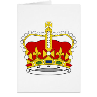 Red and Yellow/Gold/Golden Crown with Jewels Card