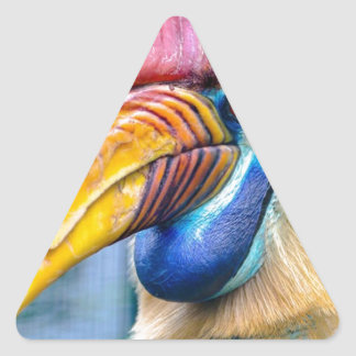 Red and Yellow Hornbill Triangle Sticker