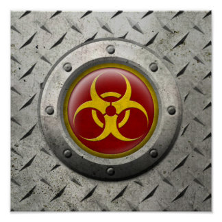Red and Yellow Industrial Biohazard Steel Effect Print