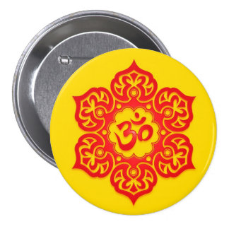Red and Yellow Lotus Flower Om Buttons