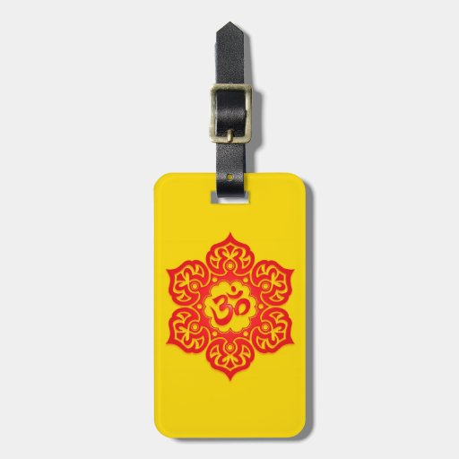 Red and Yellow Lotus Flower Om Luggage Tags