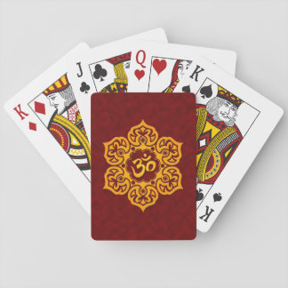 Red and Yellow Lotus Flower Om Poker Deck