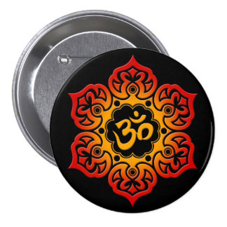 Red and Yellow Lotus Flower Om on Black Pinback Button